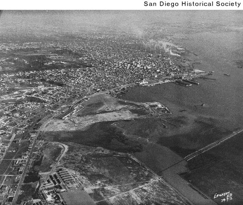 Aerial view of San Diego looking south