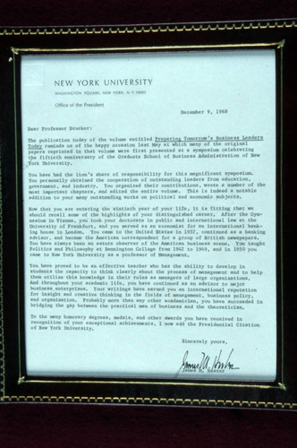 Correspondence from James M. Hester to Peter Drucker, 1968-12-09
