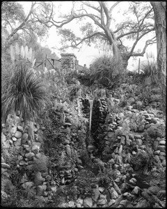Man-made waterfall in Busch's sunken gardens, Pasadena, 1916