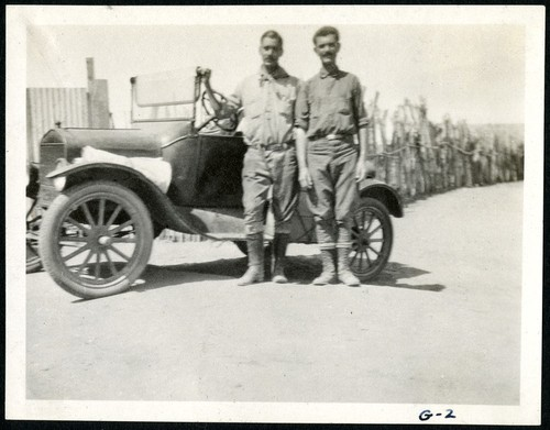 Peveril Meigs, left, and Warren Thornthwaite in front of the Ford in El Rosario