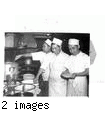 """Cooks at the Cherry Blossom Café in Los Angeles. Left to right: Fred Arzaga, Filipino; Fred Takeda, Nisei, and Bob Jung, Chinese. And they get along, too.""--caption on photograph JARDA-1-27"