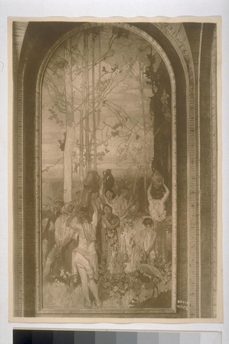 "Brangwyn Mural. [""The Fountain,"" one of two panels of the mural ""Water"" (Frank Brangwyn, painter). Southeast corner, Court of Abundance, or Court of the Ages. 10329½.]"