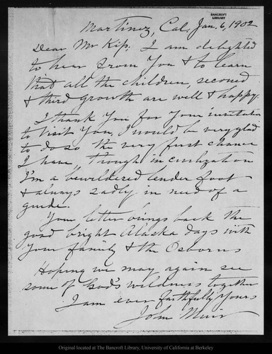 Letter from John Muir to [George G.] Kip, 1902 Jan 6