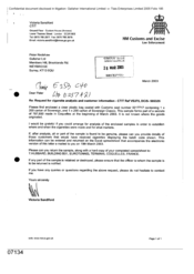 [Letter from Victoria Sandiford to Peter Redshaw in regards to request for cigarette analysis and customer information]