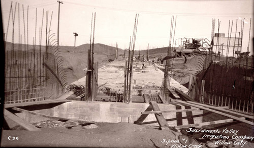 Construction on the Sacramento Valley Irrigation ditch