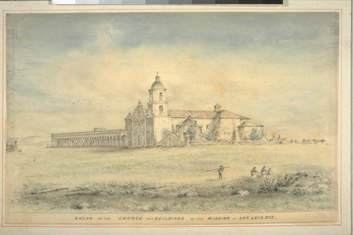Ruins of the church and buildings of the Mission of San Luis Rey. Founded 1798. (cf. Vischer Pictorial p. 49, Vischer Missions no. 15)