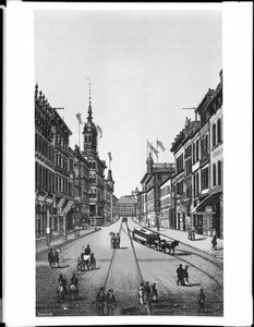 Drawing depicting San Francisco's Montgomery Street south from Sacramento Street, ca.1890
