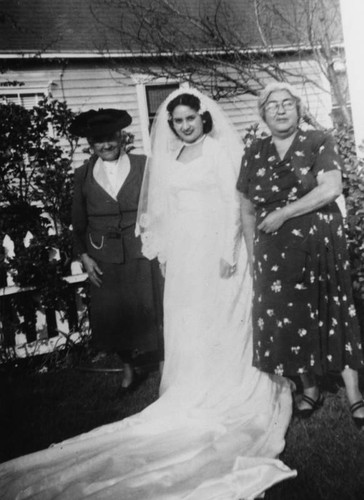 Mexican American bride with grandmothers