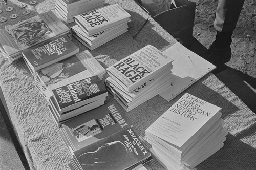 Books for sale at Free Huey Rally, Bobby Hutton Memorial Park, #97 from A Photographic Essay on The Black Panthers
