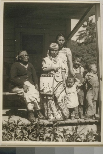 Old Mrs. Mary James, her daughter Mrs. Ed Lopez and children. Smith River, Calif. June 18, 1938
