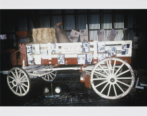 Horse-drawn wagon used as part of the California Cooperative Creamery's dairy exhibit, 1983