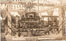 1910 Gravenstein Apple Show display of Fred Grohe the Florist at the Apple Show