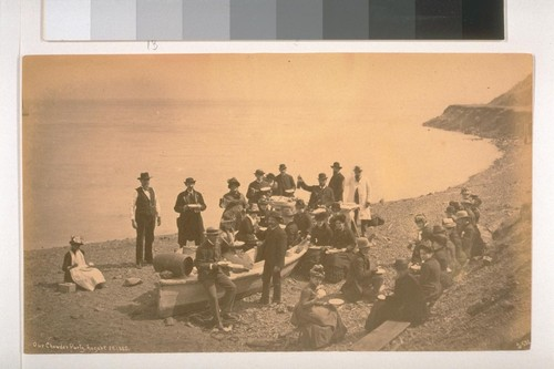 Our Chowder Party, August 30, 1885 (several people on a beach) (530)