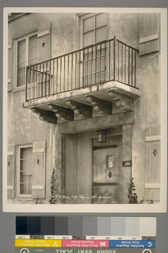G.G. Gier [residence]. #129 Requa Rd., Piedmont. [Balcony, with iron railing.]