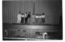Analy High School students on the auditorium stage, 1951