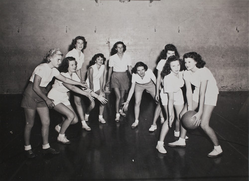 Girls playing basketball, Citrus Union High School, 1949