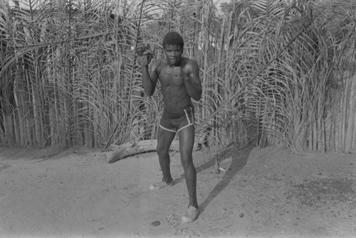 Boxer standing with fists up, San Basilio de Palenque, ca. 1978
