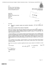 [Letter from Sharon Tapley to Nigel Espin regarding a request for cigarette analysis and customer information]