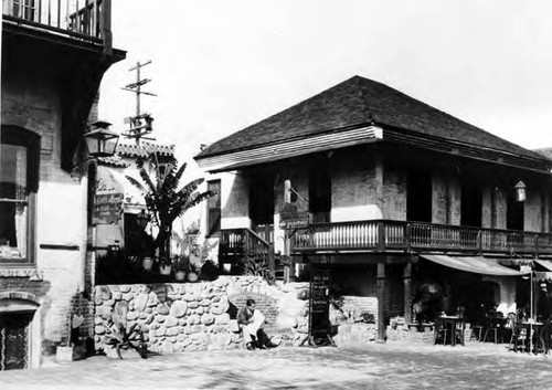 Photograph of Olvera Street side of Pelanconi House after restoration by Plaza De Los Angeles
