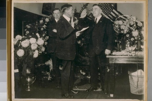 County Clerk Harry I. Mulcrevy [?], Chief D.J. O'Brien and Capt. Quinn, 1920