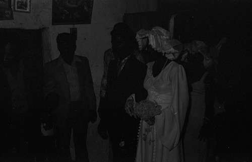 Wedding couple standing in a room, San Basilio del Palenque, ca. 1978