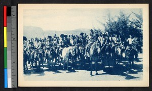 Basuto men on horses, Lesotho, ca.1920-1940