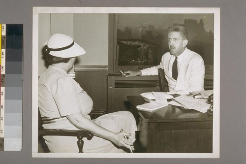 [Sidney Coe Howard] and Jane Brodeur (Casting Agent) in Playwrights' Co. office