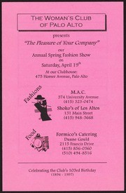 The Pleasure of Your Company: Woman's Club Spring Fashion Show Announcement, 1994