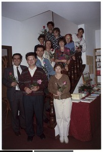 Group photograph of Mihael Kuzmič with students of the course inside of the church building