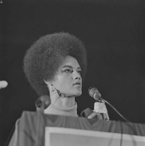 Kathleen Cleaver, Communications Secretary of the Black Panther Party, and wife of Eldridge Cleaver at Free Huey Rally, Marin City, CA, #65 from A Photographic Essay on The Black Panthers
