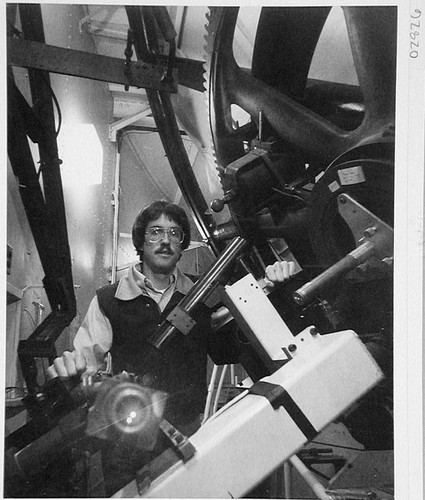 Douglas K. Duncan at the coude focus of the 100-inch telescope, Mount Wilson Observatory
