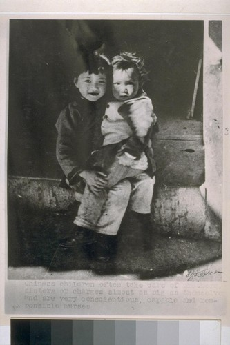 Chinese children often take care of brothers, sisters or charges almost as big as themselves and are very conscientious, capable and responsible nurses. [Photograph by L.J. Stellman.]