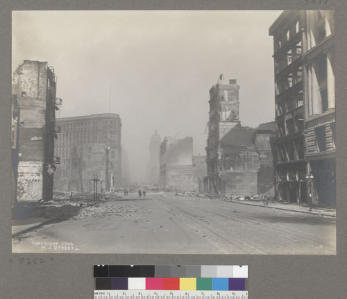 [Market Street, looking northeast from ca. Sixth St.. Call Building, center; Flood Building, left center.]