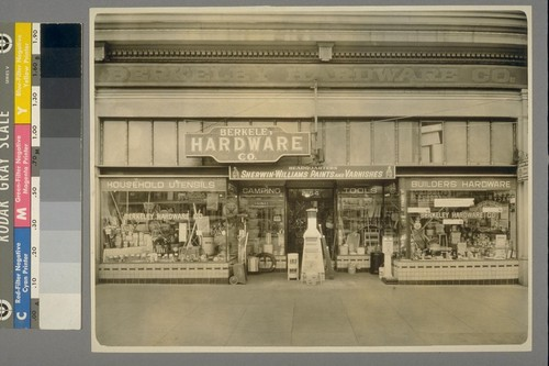 [Berkeley Hardware Co. Storefront. 2154 University Avenue, Berkeley. Photograph by Max W. Greene.]