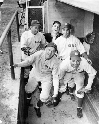 [Five San Francisco Seals players standing in the dugout]