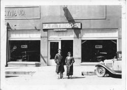 Delbert Triggs and his wife Georgia at the J. F. Triggs Auto Parts store at 130 South Main Street Sebastopol, about 1930s