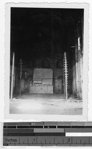 Interior of the old uncompleted church in Carrillo Puerto, Quintana Roo, Mexico, January 1947