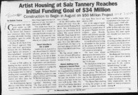 Artist Housing at Salz Tannery Reaches Initial Funding Goal of $34 Million