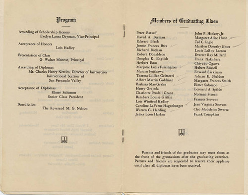 Canoga Park High School Commencement Brochure, 1936