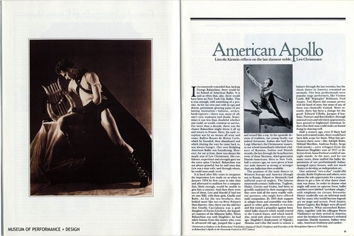 "Article: ""American Apollo: Lincoln Kirstein reflects on the late danseur noble, Lew Christensen"""