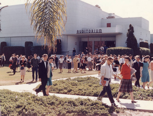 Students exiting the Auditorium on the Los Angeles campus, early 1960s