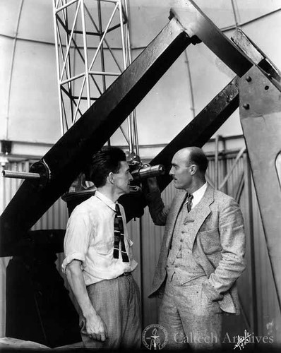 H. Page Bailey and Frank Lindsay with San Bernardino Jr. College Observatory 16""