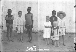 Swiss and African boys, Matutwini, Mozambique, ca. 1896-1911