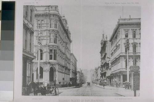 Business blocks of San Francisco. Montgomery Street from the corner of Pine, looking north. 1888. [Reproduced from San Francisco News Letter? July 7th, 1888.]