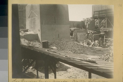San Francisco Garbage Crematory, May 1906. Interior view of plant showing destruction of flues at either side of chimney by the falling of upper 60 feet of structure, due to the earthquake