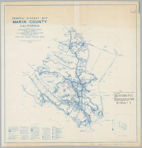 Calisphere General Highway Map Marin County Calif Sheet 1