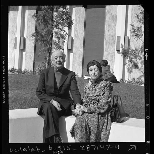 Playwright Eugene Ionesco with wife Rodica, Calif., 1978