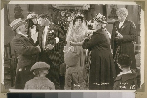 """Well, Mr. Sieppe,"" exclaimed Marcus, ""we won't see each other for some time""... Page 175. Sieppe [Chester Conklin]. Selina [Joan Standing]. [Jean Hersholt.] Twin. Twin. [Zasu Pitts.] Mrs. Sieppe [Sylvia Ashton]. [Gibson Gowland.]"