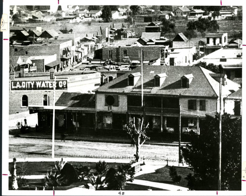 Aerial view of Lugo adobe house, St. Vincent's College