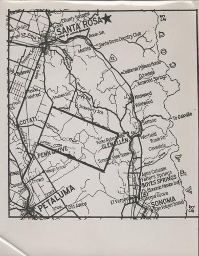 Calisphere Sonoma County Area Map From Petaluma To Santa Rosa